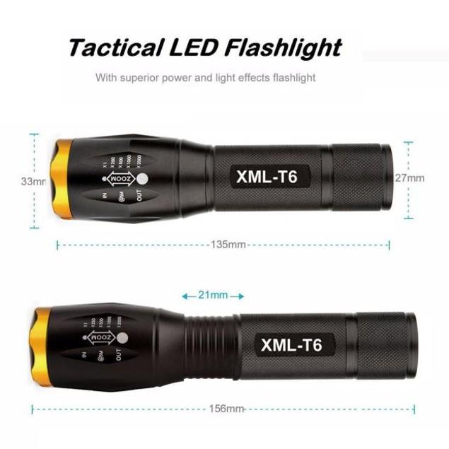 G700 X800 LED Tactical Military XM-L T6 Flashlight Torch Zoom
