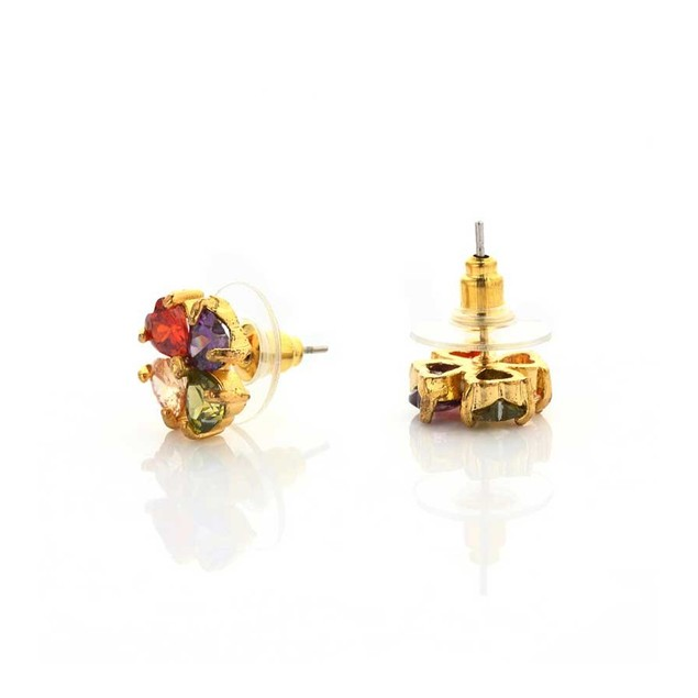Novadab Multicolored Heart Stud Women Earrings