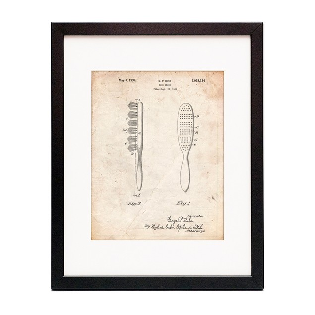 Wooden Hair Brush 1933 Patent Poster