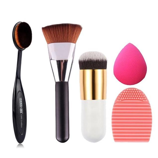 5pcs Makeup Brush Makeup Sponge Makeup Brush Cleaner Foundation Brush