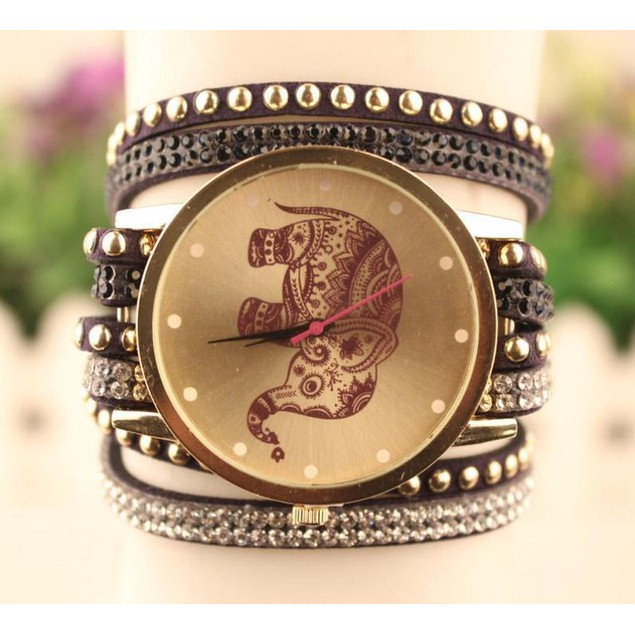 Boho Wrap Elephant Watch & Bracelet