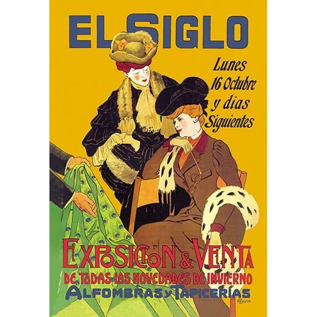 """Spanish poster titled, """"El Siglo,"""" featuring an advertisement with two wome"""