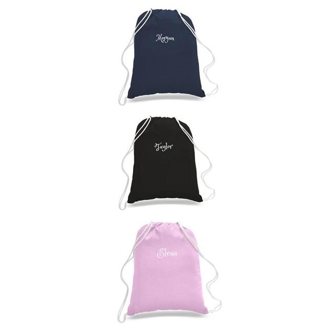 Personalized Cotton Drawstring Backpacks -Travel /Beach Bag /Gym