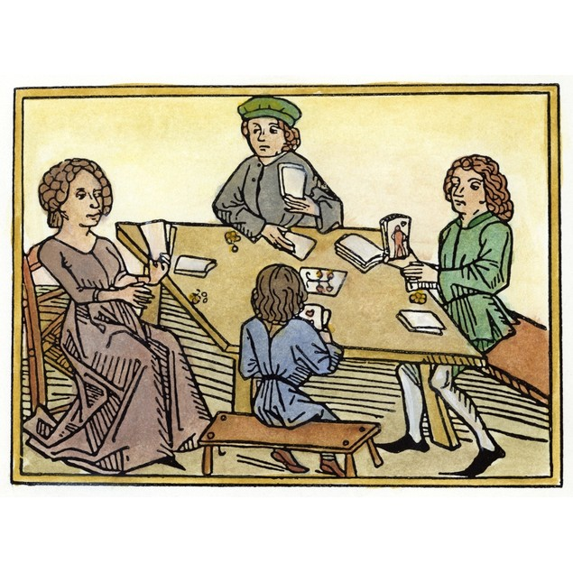 Medieval: Gambling, 1472. /Ngambling With Cards. Woodcut From Meister Ingol