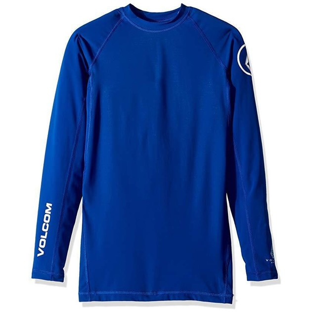 Volcom Men's Lido Solid Long Sleeve Rashguard, Camper Blue, SZ  Medium