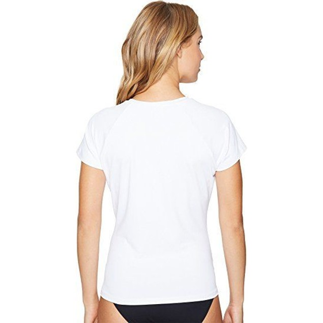 O'Neill Women's Graphic Short Sleeve Rash Tee White Swimsuit Top SIZE