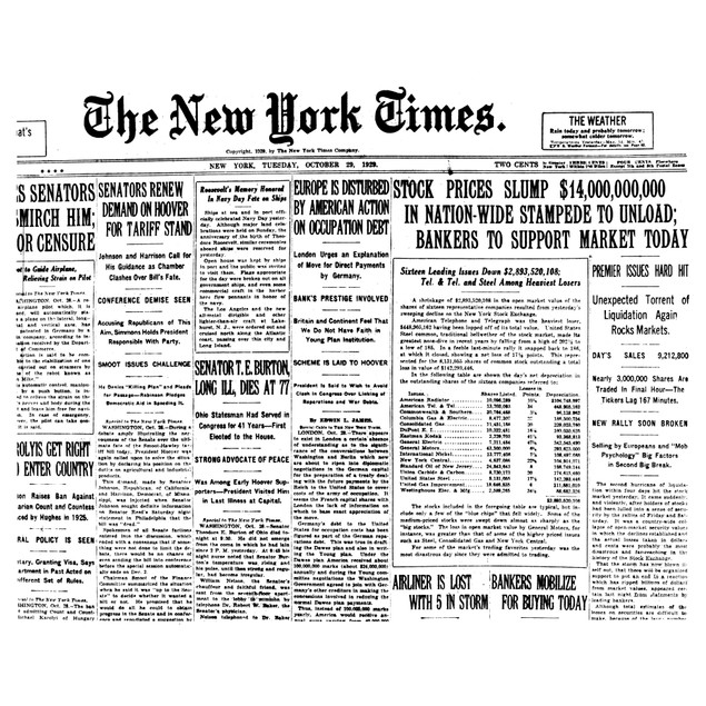 Wall Street Crash, 1929. /Nfront Page Of The New York Times, 29 October 192