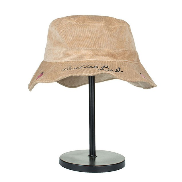 Women Men Cotton Plain Ladybug Embroidery Basin Cap Fisherman Hat C