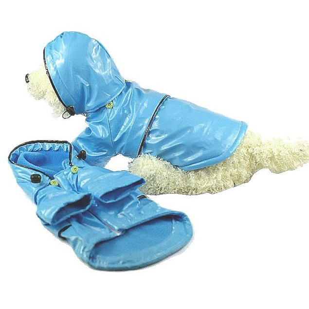 Baby Blue Pvc Waterproof Adjustable Pet Raincoat w/Removable Hood