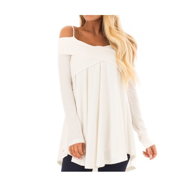 Off Shoulder Spaghetti Strap Long Sleeve Loose Shirt