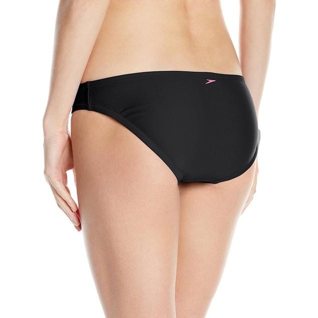 Speedo Women's Active Solid Hipster Bikini Bottom, Black, SZ: X-Small