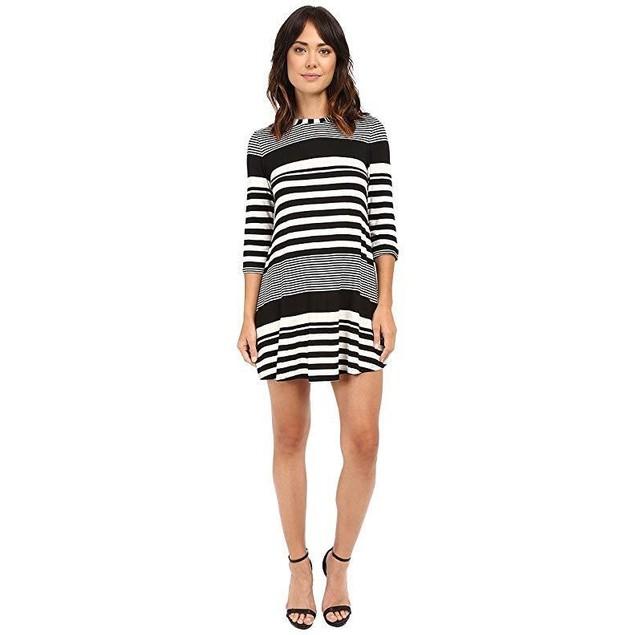 Christin Michaels Women's Khloe Multi Stripe Dress Ivory/Black Dress 1