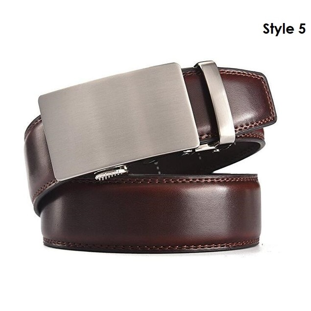Leather Men's Solid Buckle with Automatic Ratchet Leather Belt
