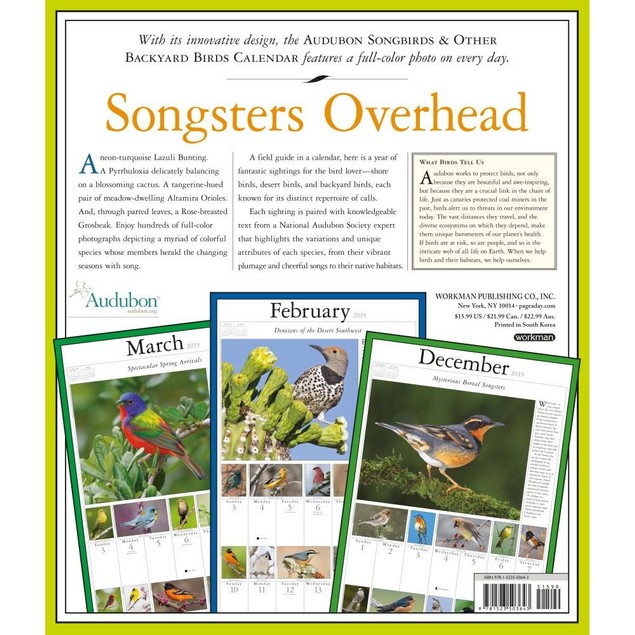 365 Audubon Songbirds Wall Calendar, Birds by Calendars