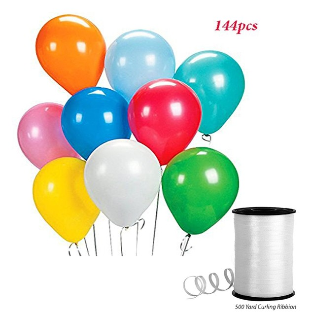 144cs Assorted Latex Birthday Party Balloons + 500 Yards