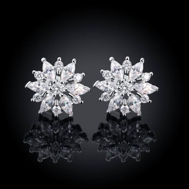 18K White Gold Simulated Diamond Snowflake Earrings