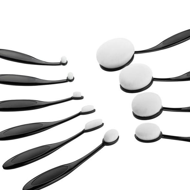 10PCS Mini Toothbrush Eyebrow Foundation Eyeliner Lip Oval Brushes