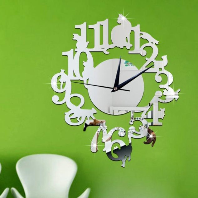 Unique Cat Mirror Silver Wall Clock Watch Wall Sticker