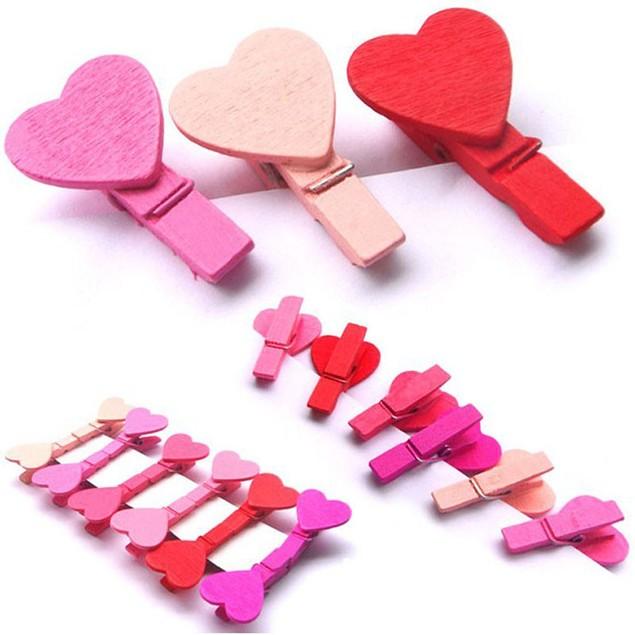 12Pcs Mini Heart Love Wooden Clothes Photo Paper  Craft Clips