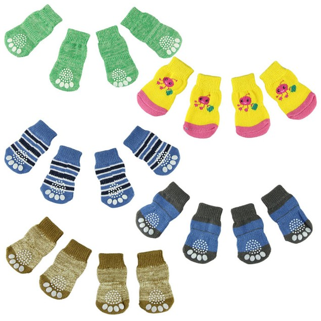 4-Piece Set: Anti-Skid Knit Socks for Pets