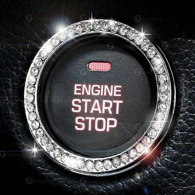 Zone Tech Car Bling Ring Adhesive Crystal Start Engine Ignition Button