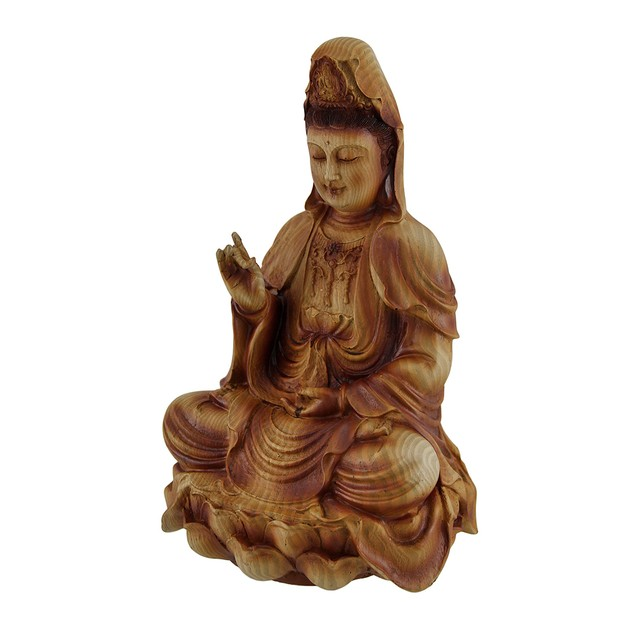 Guanyin Goddess Of Mercy Sitting On Lotus Wood Statues