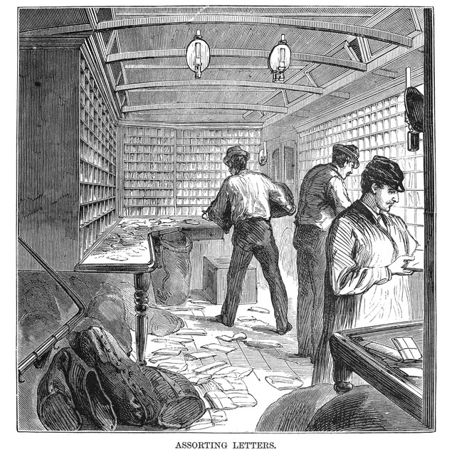 Mail Train, 1875. /Nsorting The Mail On The 'Lightning Express' Mail Train