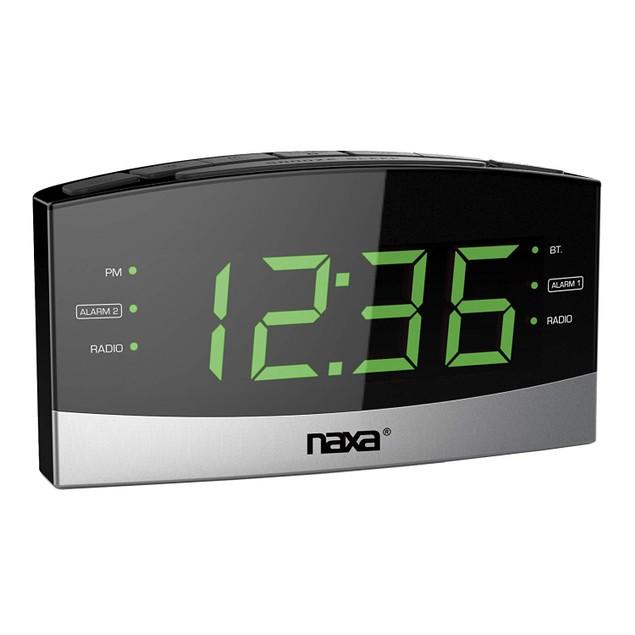 NAXA Electronics Bluetooth Dual Alarm Clock Repeat & USB Charge Port