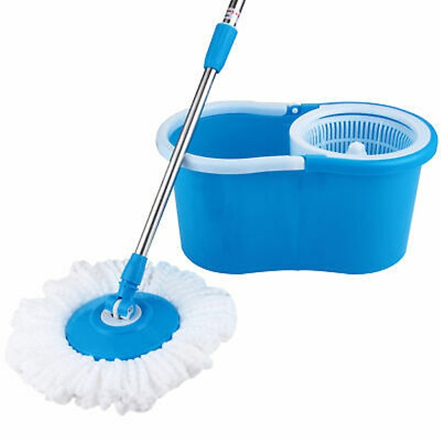 Rotating Head Easy Magic Floor Mop Bucket 2x Head Microfiber