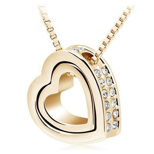 Double Heart Pendant - Yellow Gold Plated