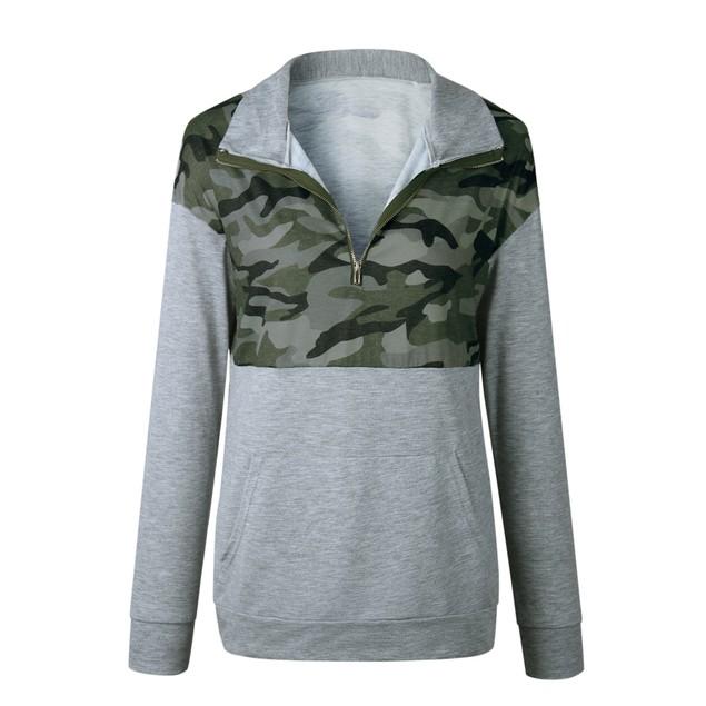 Long Sleeve Camouflage Print Zip Up Top