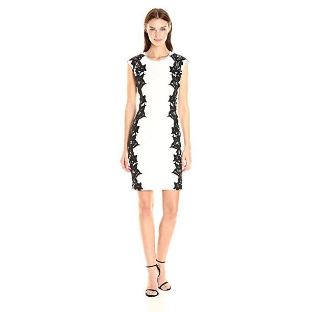 Vince Camuto Women's Sleeveless Dress With Side Lace Panels Sz M