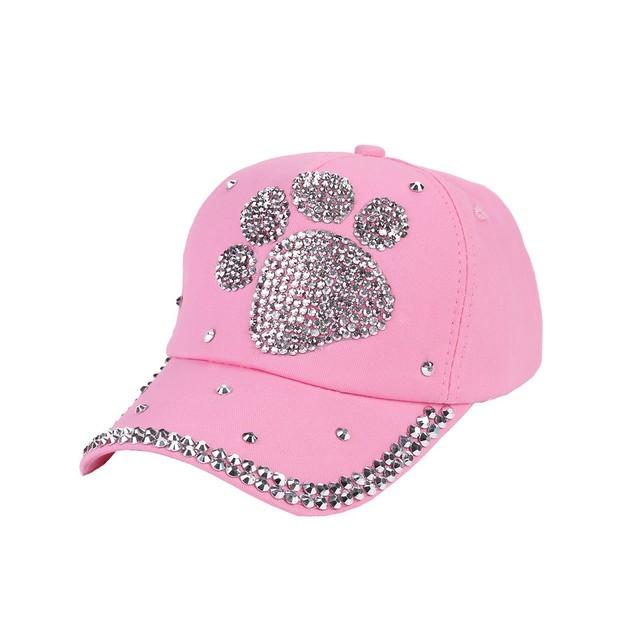 New Baseball Cap Rhinestone Paw Shaped Boy Girls Snapback Hat o