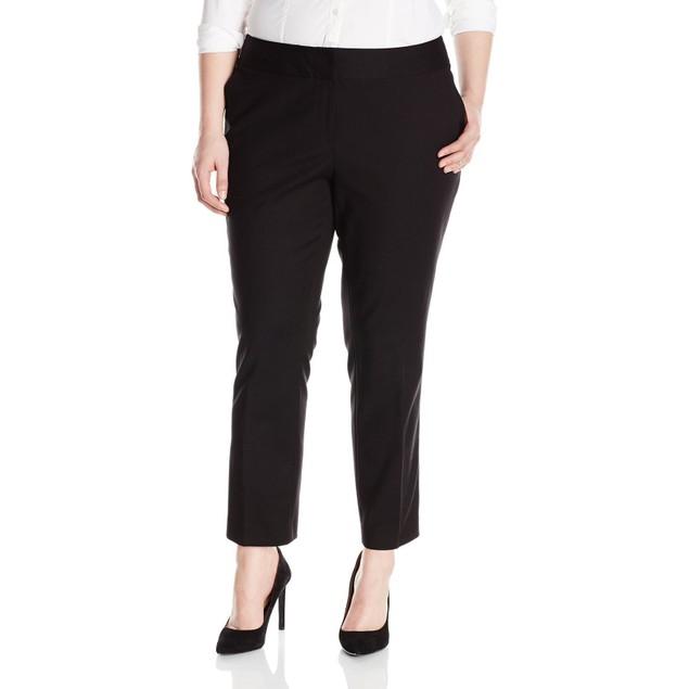 Vince Camuto Women's Plus Size Front Zip Ankle Pant, Rich Black SIZE 2