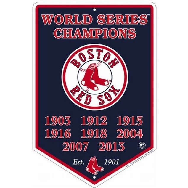 Boston Red Sox MLB World Series Champions Metal Banner Sign
