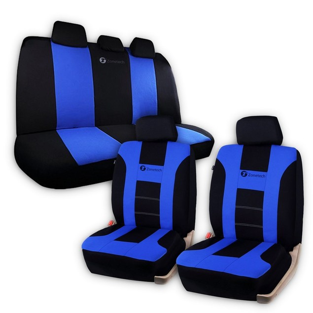 Zone Tech Universal Full Set Blue/Black Car Seat Covers Racing Style Sport
