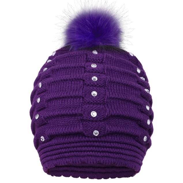 Women Winter Warm Knitted Faux Fur Pom Pom Beanie Hat