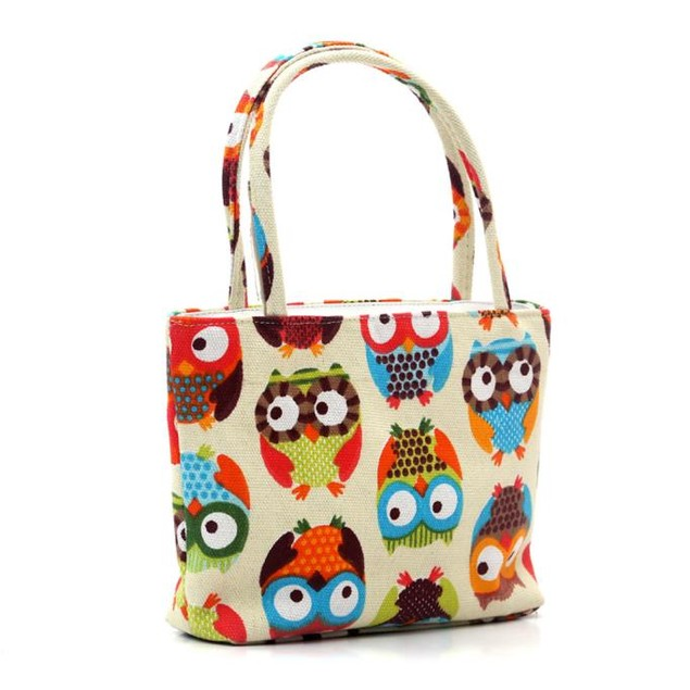Trendy Owl Canvas Shopper Bag