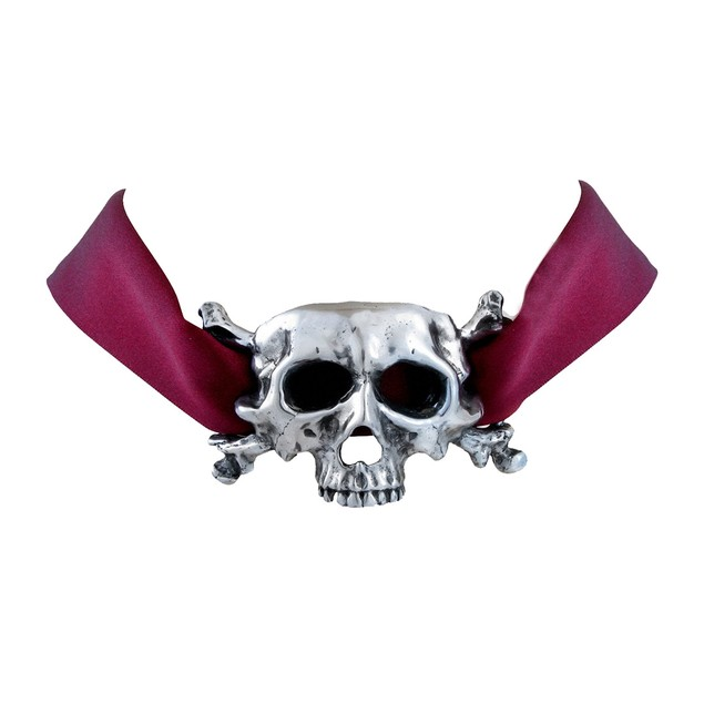 Alchemy Gothic `I Dieth` Skull Ribbon Necklace Womens Pendant Necklaces