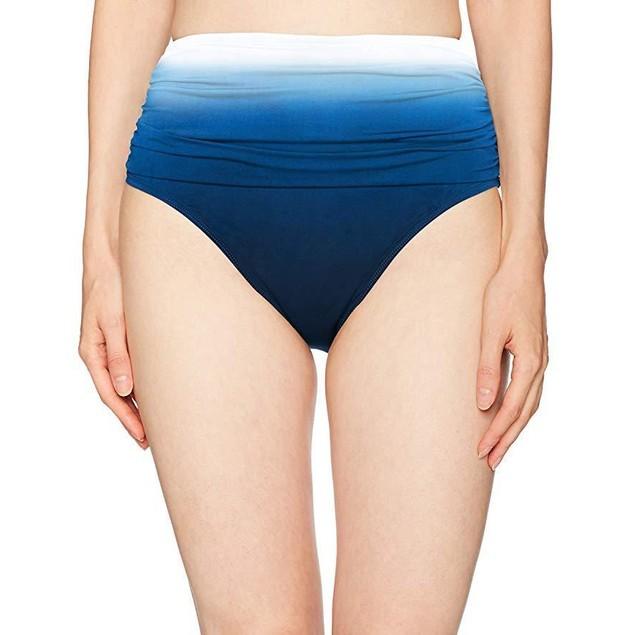 Bleu Rod Beattie Women's Shirred High Waist Bikini Bottom, Ombre, 14