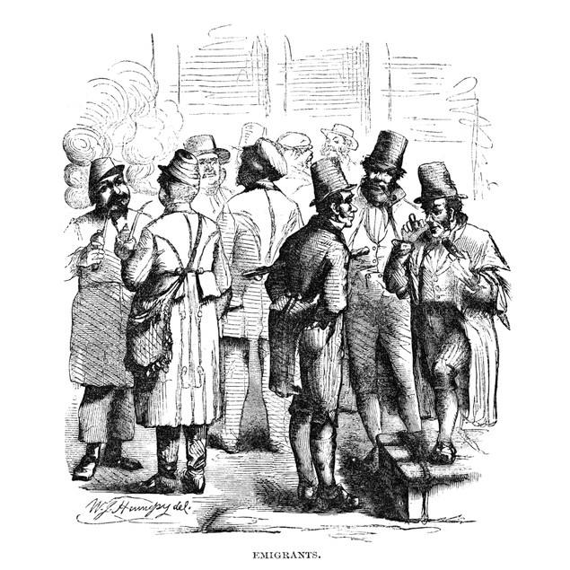 New York: Immigrants, 1858. /Nimmigrant Men In New York City. Wood Engravin