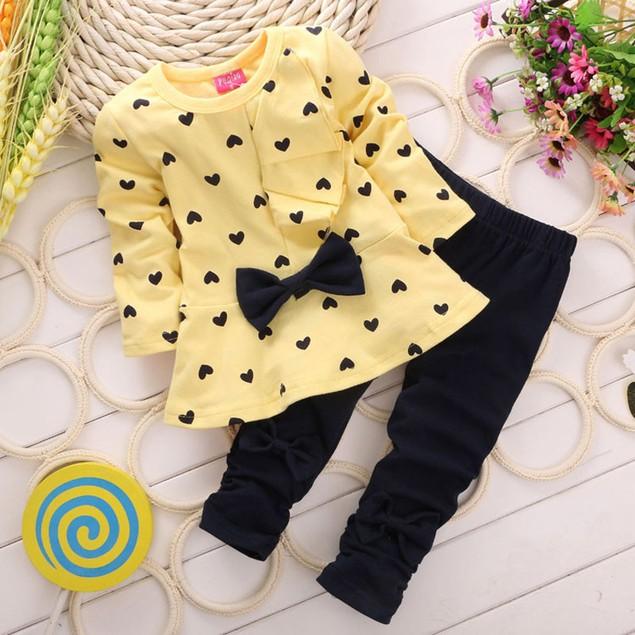 Baby Sets Heart-shaped Print Bow Cute 2PCS Kids Set T shirt + Pants