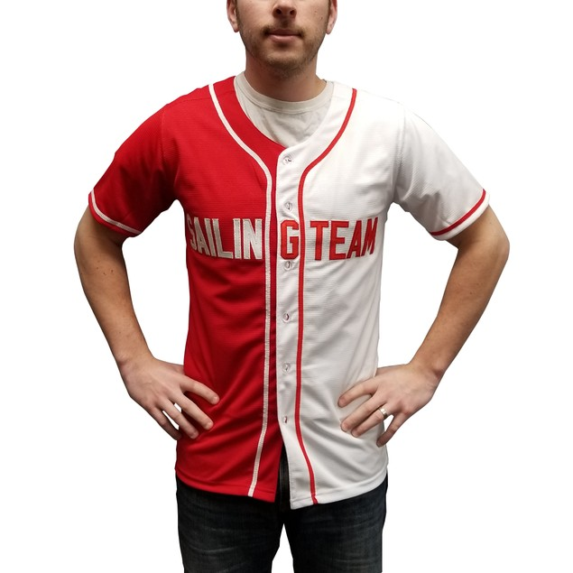 Lil Boat #44 Sailing Team Red And White Baseball Jersey