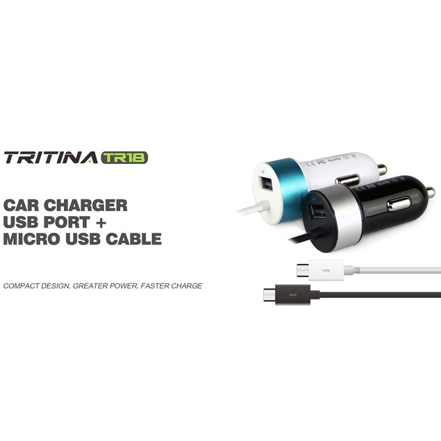 Tritina USB Car Charger Anti Fire Shell USB Port + Charge Cable