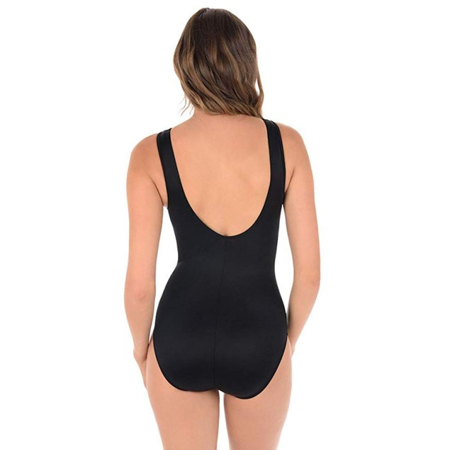Miraclesuit Women's Somerset One Piece High Neck Swimsuit Black/White