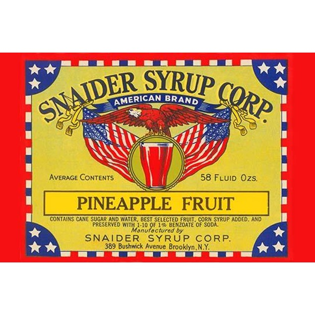 Can label for pineapple packed in corn syrup and distributed by Snaider Syr