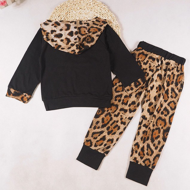 Baby Black Leopard Track Suit Top & Pants Outfit
