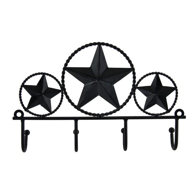 2 Piece Rustic Brown Western Stars Key Holder Wall Decorative Wall Hooks