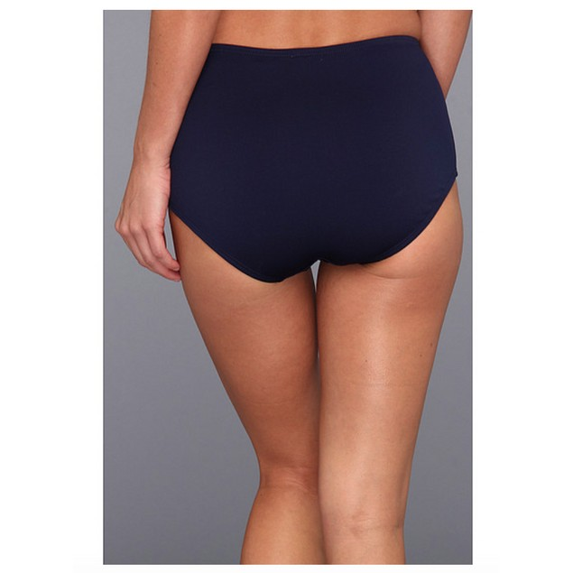 TYR 1229 Solid High Waist Bikini Bottom Navy Women's Swimwear Sz 12