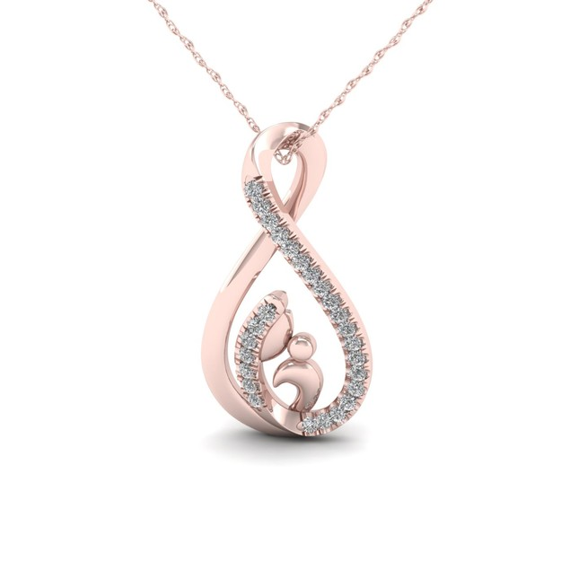 De Couer 10K 1/20ct TDW Diamond Motherly Love Necklace (I-J, I2)